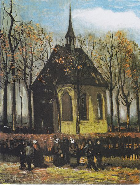 Congregation Leaving the Reformed Church in Nuenen by Van Gogh
